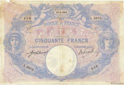 50 Francs BLEU ET ROSE FRANCE  1915 F.14.28 pr.TB