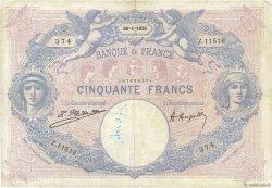 50 Francs BLEU ET ROSE FRANCE  1925 F.14.38 TB
