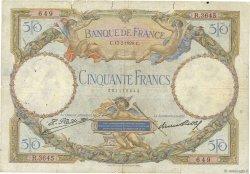 50 Francs LUC OLIVIER MERSON FRANCE  1929 F.15.03 B+