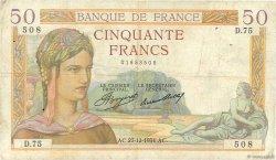 50 Francs CÉRÈS FRANCE  1934 F.17.02 TB