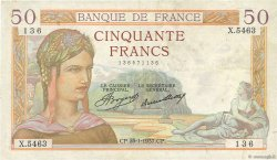 50 Francs CÉRÈS FRANCE  1937 F.17.33 TTB