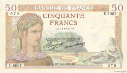 50 Francs CÉRÈS FRANCE  1937 F.17.37 TTB