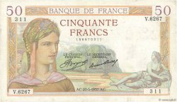 50 Francs CÉRÈS FRANCE  1937 F.17.39 TTB