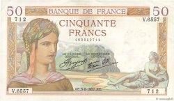 50 Francs CÉRÈS modifié FRANCE  1937 F.18.01 TTB+