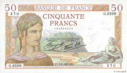50 Francs CÉRÈS modifié FRANCE  1937 F.18.01 TTB