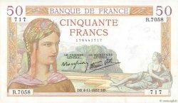 50 Francs CÉRÈS modifié FRANCE  1937 F.18.04 SUP