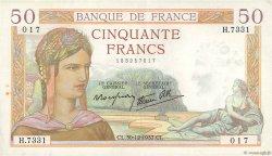 50 Francs CÉRÈS modifié FRANCE  1937 F.18.06 pr.SUP