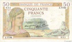 50 Francs CÉRÈS modifié FRANCE  1938 F.18.10 TTB