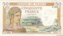 50 Francs CÉRÈS modifié FRANCE  1938 F.18.10 SUP