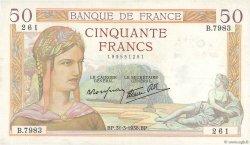 50 Francs CÉRÈS modifié FRANCE  1938 F.18.11 pr.SUP