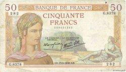 50 Francs CÉRÈS modifié FRANCE  1938 F.18.14 TB+