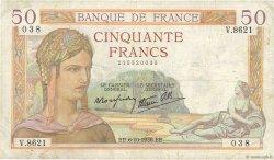 50 Francs CÉRÈS modifié FRANCE  1938 F.18.15 TB