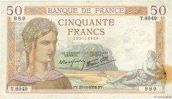 50 Francs CÉRÈS modifié FRANCE  1938 F.18.17 TTB