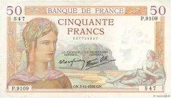 50 Francs CÉRÈS modifié FRANCE  1938 F.18.18 pr.SUP