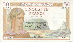 50 Francs CÉRÈS modifié FRANCE  1939 F.18.21 pr.SUP