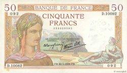 50 Francs CÉRÈS modifié FRANCE  1939 F.18.24 pr.SUP