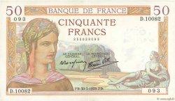 50 Francs CÉRÈS modifié FRANCE  1939 F.18.24 SUP