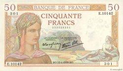 50 Francs CÉRÈS modifié FRANCE  1939 F.18.25 SUP+