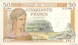 50 Francs CÉRÈS modifié FRANCE  1939 F.18.32 SUP+