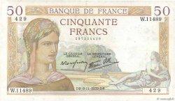50 Francs CÉRÈS modifié FRANCE  1939 F.18.34 TB+