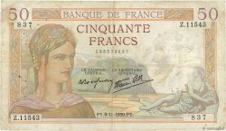 50 Francs CÉRÈS modifié FRANCE  1939 F.18.34 TB
