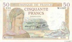 50 Francs CÉRÈS modifié FRANCE  1939 F.18.35 TTB+