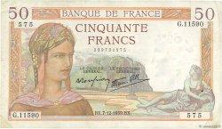 50 Francs CÉRÈS modifié FRANCE  1939 F.18.35 TTB