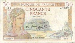 50 Francs CÉRÈS modifié FRANCE  1940 F.18.41 pr.TTB