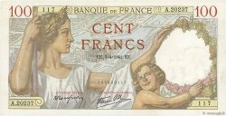 100 Francs SULLY FRANCE  1941 F.26.49 SPL