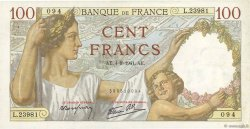 100 Francs SULLY FRANCE  1941 F.26.57 TTB+