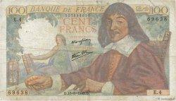 100 Francs DESCARTES FRANCE  1942 F.27.01 B