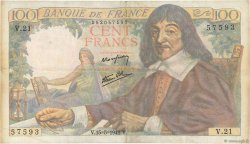 100 Francs DESCARTES FRANCE  1942 F.27.01 B+