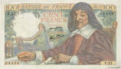 100 Francs DESCARTES  FRANCE  1942 F.27.01 pr.TTB