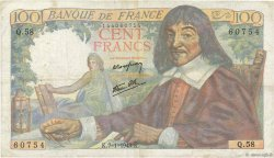 100 Francs DESCARTES FRANCE  1943 F.27.03 TB
