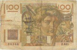 100 Francs JEUNE PAYSAN FRANCE  1953 F.28.38 pr.B