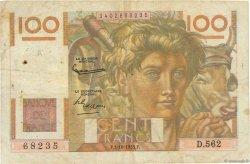 100 Francs JEUNE PAYSAN FRANCE  1953 F.28.39 B