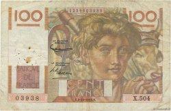 100 Francs JEUNE PAYSAN filigrane inversé FRANCE  1952 F.28bis.01 B+