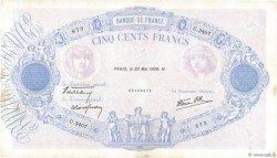500 Francs BLEU ET ROSE modifié FRANCE  1939 F.31.33 TB+