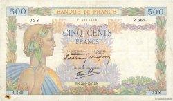 500 Francs LA PAIX FRANCE  1940 F.32.03 TB+