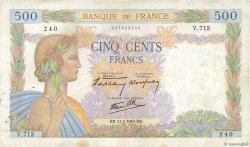 500 Francs LA PAIX FRANCE  1940 F.32.04 TB