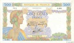 500 Francs LA PAIX FRANCE  1940 F.32.06 TTB