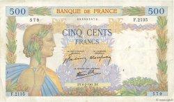 500 Francs LA PAIX FRANCE  1941 F.32.14 TB