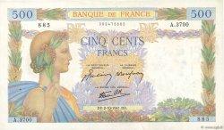 500 Francs LA PAIX FRANCE  1941 F.32.22 TTB+