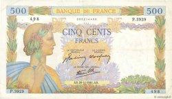 500 Francs LA PAIX FRANCE  1941 F.32.24 TTB