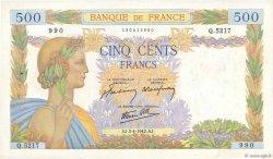 500 Francs LA PAIX FRANCE  1942 F.32.33 TTB