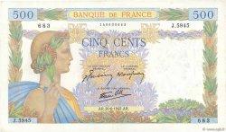 500 Francs LA PAIX FRANCE  1942 F.32.35 TTB