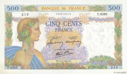 500 Francs LA PAIX FRANCE  1942 F.32.39 SPL