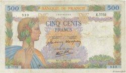500 Francs LA PAIX FRANCE  1943 F.32.44 TB