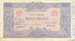 1000 Francs BLEU ET ROSE FRANCE  1921 F.36.37 TB