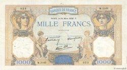 1000 Francs CÉRÈS ET MERCURE type modifié FRANCE  1938 F.38.09 TB